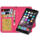 For iPhone 6/6s Magenta Wallet Style Magnetic Flip PU Leather Case with Lanyard