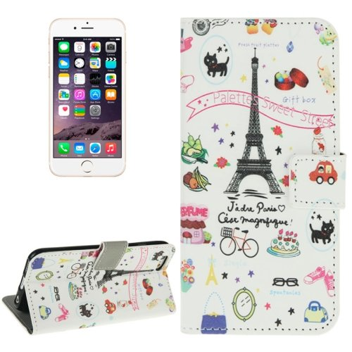 For iPhone 6/6s Eiffel Tower Leather Case with Holder, Wallet & Card Slots