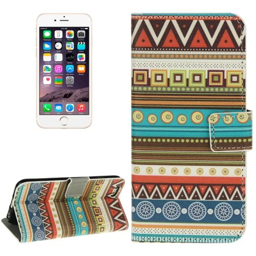 For iPhone 6/6s Embroider Leather Case with Holder, Wallet & Card Slots