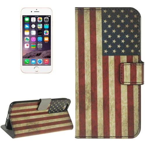 For iPhone 6/6s US Flag Leather Case with Holder, Wallet & Card Slots