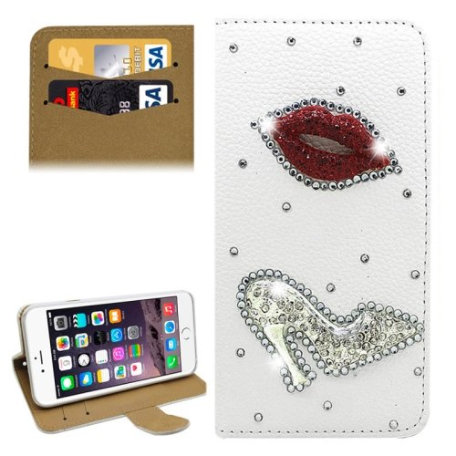 For iPhone 6/6s Diamond Sexy Lip Leather Case with Holder & Card Slots