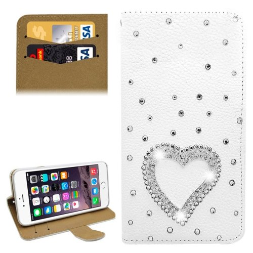 For iPhone 6/6s Diamond Heart Leather Case with Holder & Card Slots