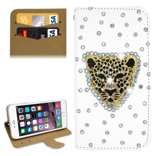 For iPhone 6/6s Diamond Leopard Leather Case with Holder & Card Slots