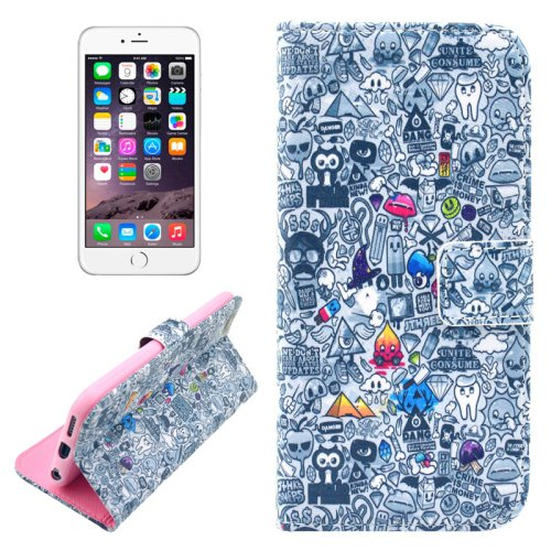 For iPhone 6/6s Graffiti Leather Case with Holder, Wallet & Card Slots