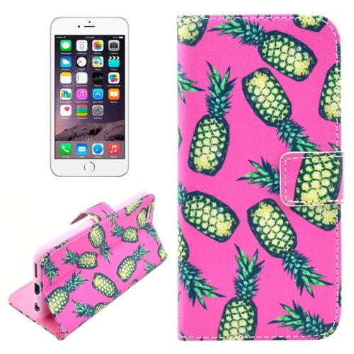 For iPhone 6/6s Pineapple Leather Case with Holder, Wallet & Card Slots