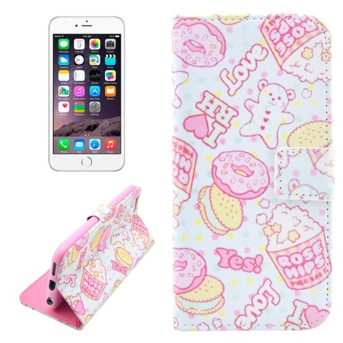 For iPhone 6/6s Biscuits Leather Case with Holder, Wallet & Card Slots
