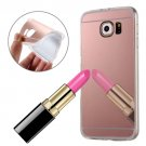 For Galaxy S7 Edge Rose Gold Plating Mirror TPU Protective Case