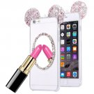 For iPhone 6/6s Pink TPU Protective Case with Lanyard, Mirror & Mouse ear