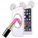 For iPhone 6/6s Silver TPU Protective Case with Lanyard, Mirror & Mouse ear