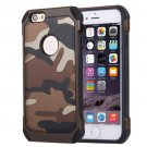For iPhone 6/6s Brown Camouflage Tough Armor PC + Silicone Case