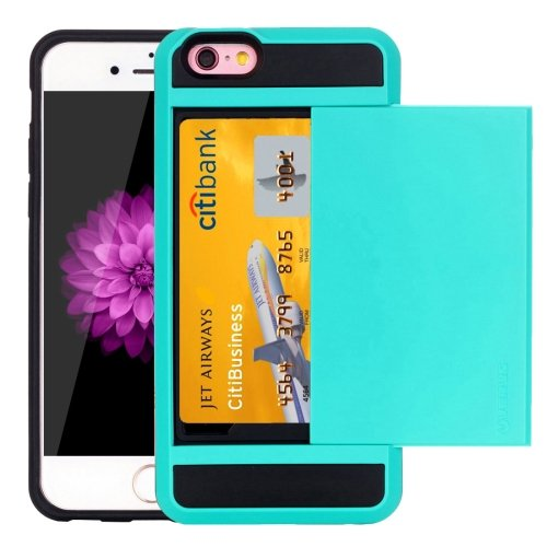 For iPhone 6/6s Blue Slide Style TPU + PC Combination Case with Card Slot