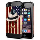 For iPhone 6/6s Straw Hat Pattern PC + TPU Colorful Armor Hard Case