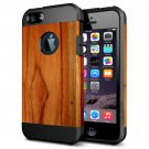 For iPhone 6/6s Wood Pattern PC + TPU Colorful Armor Hard Case