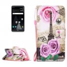 For LG V20 Rose Tower PU Leather Case with Holder, Card Slots & Lanyard