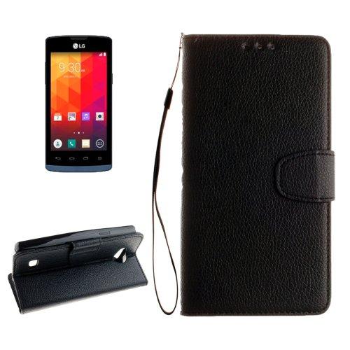 For LG Joy Black Litchi Flip PU Leather Case with Holder, Card Slots & Wallet