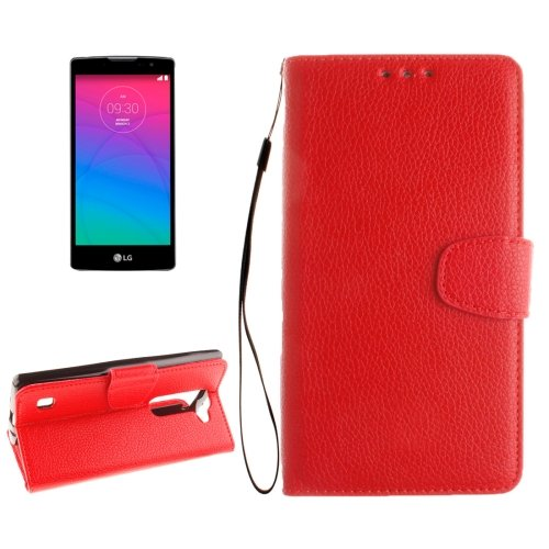 For LG Spirit Red Litchi Flip PU Leather Case with Holder, Card Slots & Wallet
