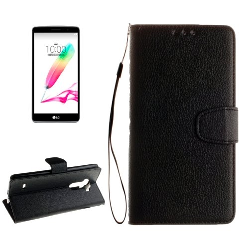 For LG G4 Black Litchi Flip PU Leather Case with Holder, Card Slots & Wallet