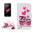 For LG X Screen Owl Family Leather Case with Holder, Card Slots & Wallet
