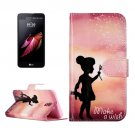 For LG X Screen Wishing Girl Leather Case with Holder, Card Slots & Wallet