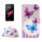 For LG X Screen Butterflies Leather Case with Holder, Card Slots & Wallet