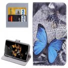 For LG K5 Blue Butterfly Leather Case with Holder, Card Slots & Wallet