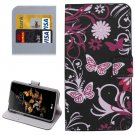 For LG K5 Black Butterfly Leather Case with Holder, Card Slots & Wallet