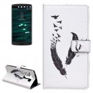 For LG V10 Feather Pattern Leather Case with Holder, Card Slots & Wallet