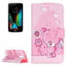 For LG K10 Bear Pattern Leather Case with Holder, Card Slots & Wallet