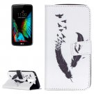 For LG K10 Feather Pattern Leather Case with Holder, Card Slots & Wallet
