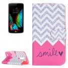 For LG K10 Smile Pattern Leather Case with Holder, Card Slots & Wallet