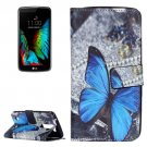 For LG K10 Butterfly Pattern Leather Case with Holder, Card Slots & Wallet