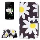 For LG K17 Daisy Pattern Leather Case with Holder, Card Slots & Wallet