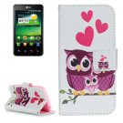 For LG K4 Owl Family Pattern Flip Leather Case with Holder & Card Slots