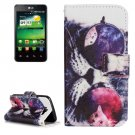 For LG K4 Glasses Cat Pattern Flip Leather Case with Holder & Card Slots