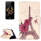 For LG  K8 Rose Tower Flip Leather Case with Holder, Card Slots & Wallet