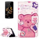 For LG  K8 Pudding Bear Flip Leather Case with Holder, Card Slots & Wallet