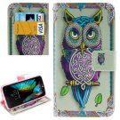 For LG  K10 Owl Flip Leather Case with Holder, Card Slots & Wallet