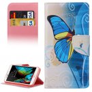 For LG  K10 Blue Butterfly Flip Leather Case with Holder, Card Slots & Wallet