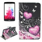 For LG G3 Stylus Hearts Pattern Leather Case with Holder, Card Slots & Wallet