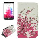For LG G3 Stylus Cherry Pattern Leather Case with Holder, Card Slots & Wallet