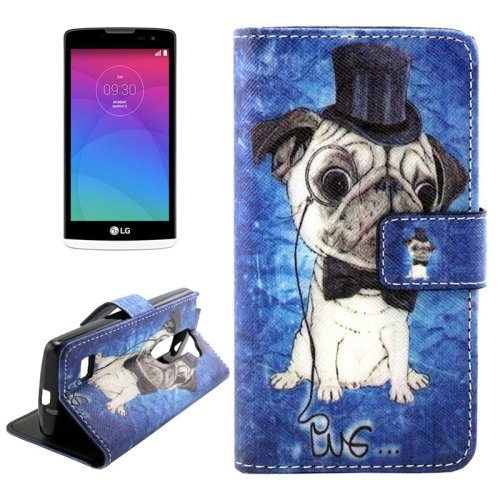 For LG Leon Bulldog Pattern Leather Case with Holder, Card Slots & Wallet