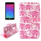 For LG Leon Elephant Pattern Leather Case with Holder, Card Slots & Wallet
