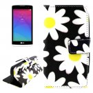For LG Leon Daisy Pattern Leather Case with Holder, Card Slots & Wallet