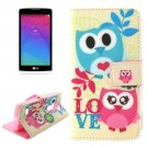 For LG Leon Owl Pattern Leather Case with Holder, Card Slots & Wallet