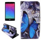 For LG Magna Butterfly Pattern Leather Case with Holder, Card Slots & Wallet