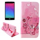 For LG Magna Bear Pattern Leather Case with Holder, Card Slots & Wallet