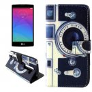 For LG Magna Camera Pattern Leather Case with Holder, Card Slots & Wallet