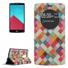 For LG G4 Grid Pattern Leather Case with Holder & Caller ID Display
