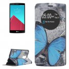 For LG G4 Butterfly Pattern Leather Case with Holder & Caller ID Display