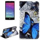 For LG Spirit Butterfly Pattern Leather Case with Holder, Card Slots & Wallet